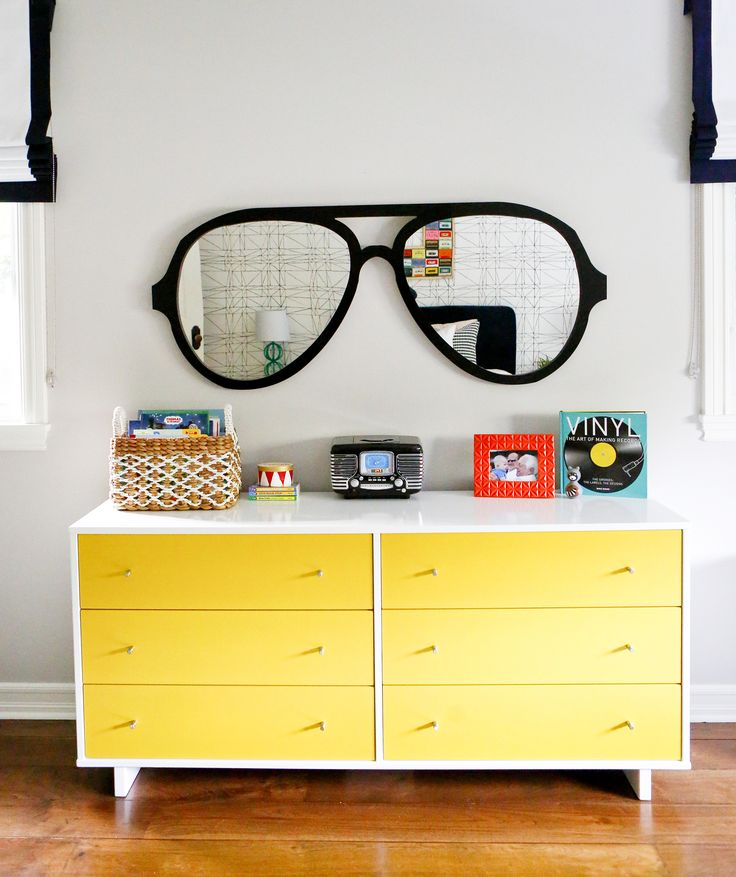 Project Nursery - Custom Aviators Mirror and Modern Yellow Dresser Big Kids Room Decor