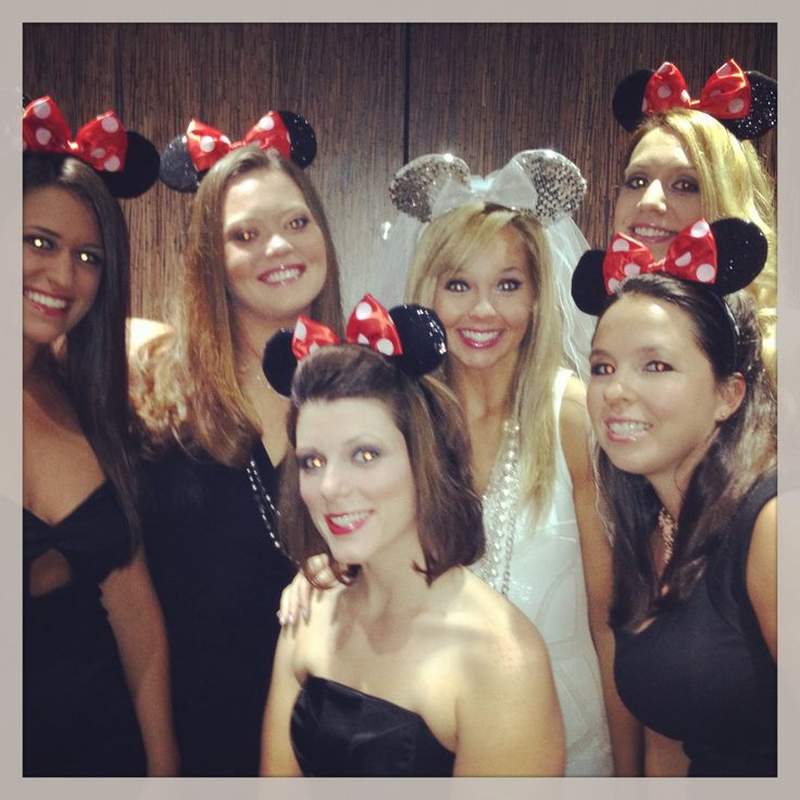 Disney bachelorette. Mickey Mouse ears. Wedding bride bridesmaids princesses