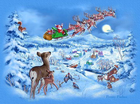 santa claus is coming to town - Santa With Reindeer Pictures