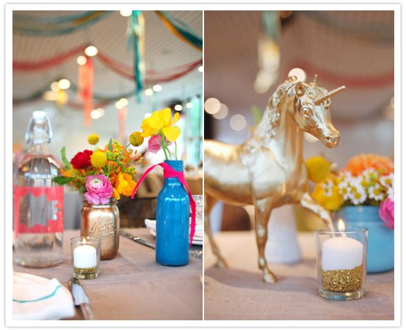 quirky and vibrant wedding centerpieces I love the mix of vintage with the modern pops of color. the gold unicorn is an unexpected touch of whimsy #stylelab