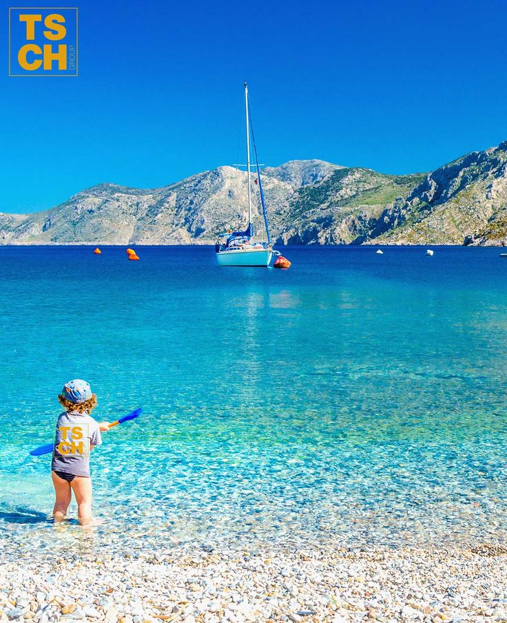 Charter a yacht and sail around Greek islands to ENJOY such BEAUTIFUL views, just like this kid. Travel to Greece and try out a new and more ORIGINAL type of holiday. #greece #visitgreece #greekislands #charter #yacht #sail #sailingholiday