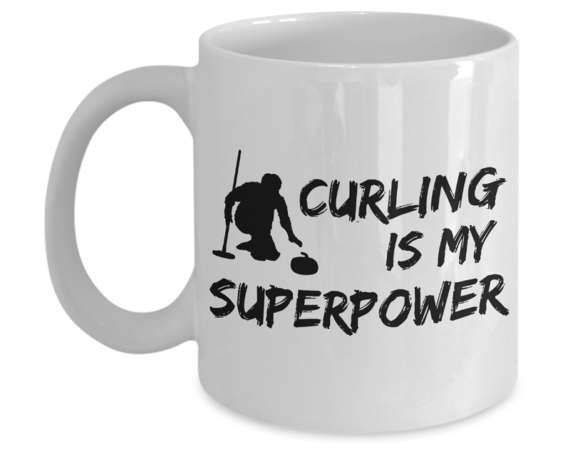 Curling Sport White Ceramic Mug Is Perfect Winter Sports Gift. Hurry Hard, Grab Your Curling Broom & Curling Stone For You Or Curling Coach