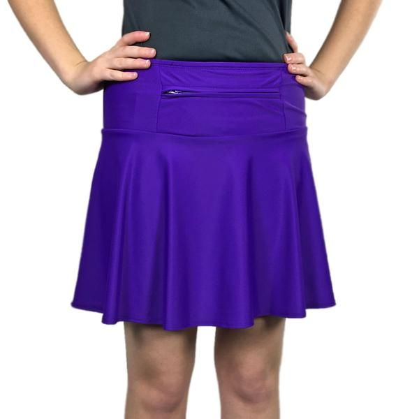 """Perfect for running costumes, this medium-weight purple athletic skirt has standard anti-ride purple undershorts with two 5x5"""" leg pockets. There is more room in this purple athletic skirt's 12"""" waistband compartment, which can be worn front or back. Grab this restocked solid running skirt today!"""
