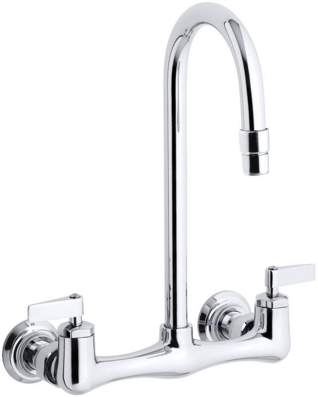 Kohler K-7320-4 Triton utility sink faucet with lever handles Polished Chrome Faucet Laundry Double Handle