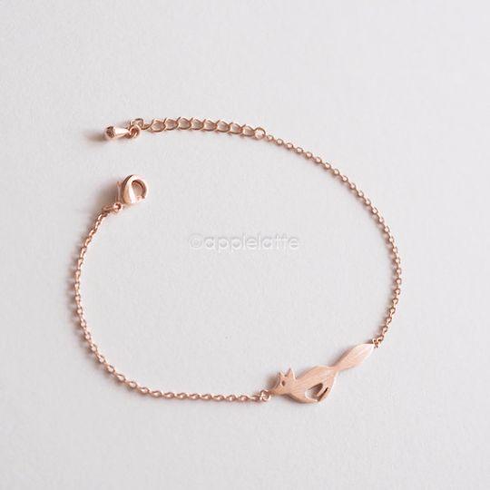 fox tail bracelet in gold/silver/rose gold, fox bracelet, gold fox bracelet, silver fox bracelet, pink fox, fox jewelry