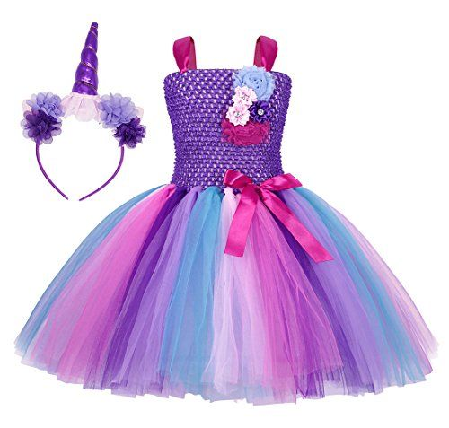 980b0f71a852 Cotrio Girls Unicorn Tutu Dress Kids Birthday Party Dresses Halloween Cosplay  Costumes Outfits Set Age 6-7 Years Size 6 (Purple)