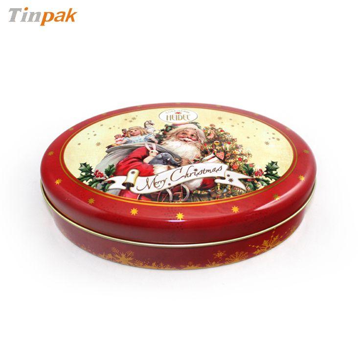 small oval christmas chocolate tin