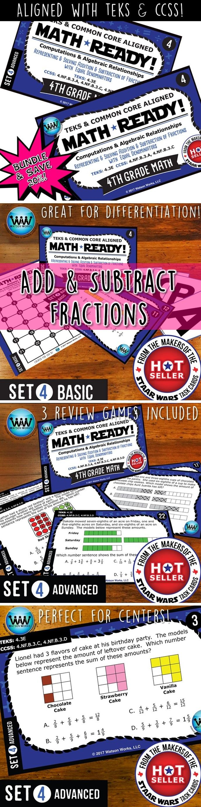SAVE 20% WHEN YOU PURCHASE THIS BUNDLE (includes both our Basic & Advanced MATH READY Representing & Solving Addition & Subtraction of Fractions with Equal Denominators Task Cards sets)! Both sets include 24 task cards w/ multiple choice answers. The BASIC set helps your students practice & apply their understanding of adding & subtracting fractions at a simpler, basic level with shorter questions, while the ADVANCED set features rigorous, higher-level thinking questions w/ longer word…