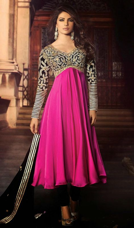 Pep up your ethnic style as Bollywood star Priyanka Chopra with this black and magenta georgette satin churidar suit. The enticing moti, resham and stones work a vital attribute of this dress. #PriyankachopraCollection