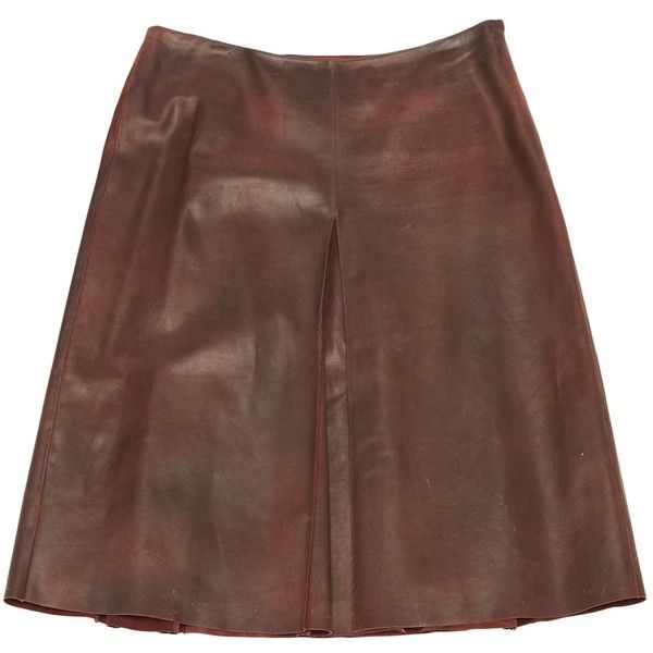 Pre-owned Miu Miu Leather Mid-Length Skirt ($261) ❤ liked on Polyvore featuring skirts, brown, women clothing skirts, miu miu, box-pleat skirts, mid length skirts, mid length leather skirt and miu miu skirt