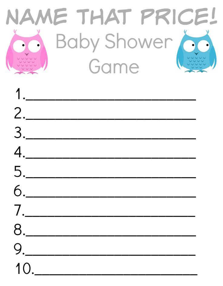 "FREE Printable ""Name That Price"" Baby Shower Game! # ..."