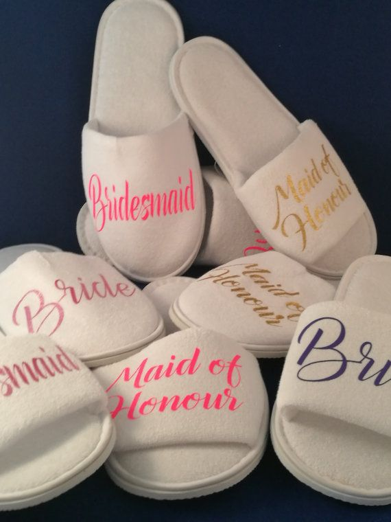 Personalised wedding Slippers Bridal party by SoLovelyWeddings