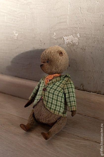 Стильный оранжевый галстук! ;) - зелёный,мишка,мишка тедди,авторский мишка
