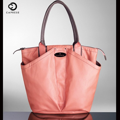 Isabella Tote | Coral & Forest Brown.