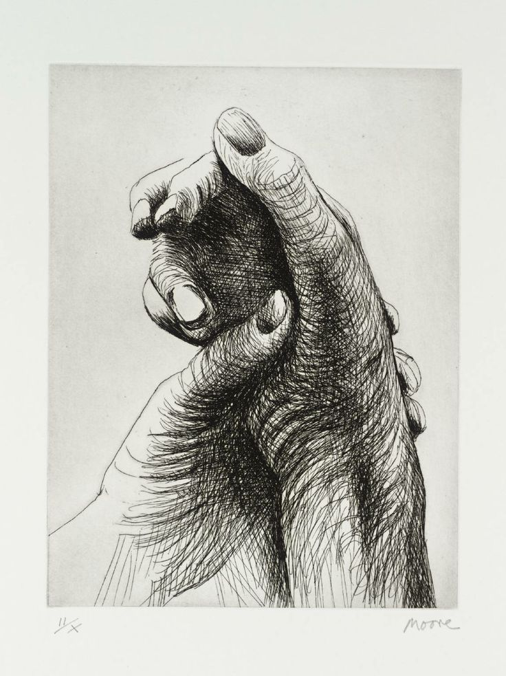 Henry Moore 'The Artist's Hand IV' 1979, 220 x 168 mm etching The Tate/London