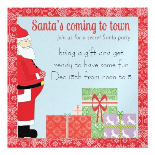 Secret Santa Invitation   Click on photo to purchase. Check out all current coupon offers and save! http://www.zazzle.com/coupons?rf=238785193994622463&tc=pin