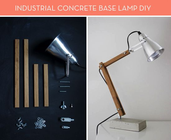 Concrete Industrial Desk Lamp credit: Nimi Design [http://www.nimidesign.com/diy-bedside-lamps-finished/]