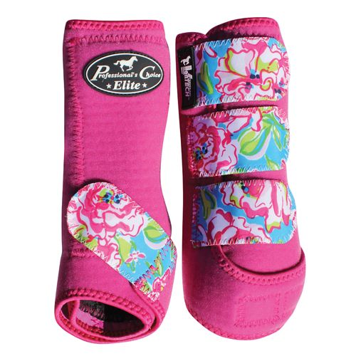 SMB Elite Sports Medicine Boot, Western Tack, Horse protection, aqha, Blossom/Raspberry