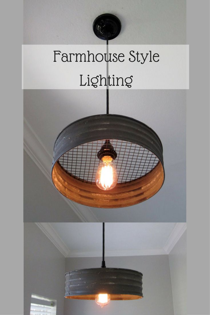 """Sifter pendant light made from corrugated metal, looks like it came out of an old farmhouse. 12"""" diam. #farmhouse #rustic #ad #industrial"""