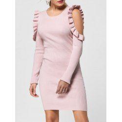 Ruffle Trim Cold Shoulder Jumper Dress - Light Pink M Sheath No