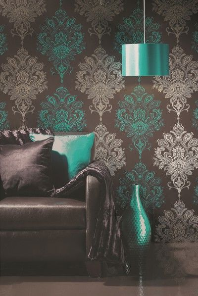 love this: Idea, Living Rooms, Damasks, Color Combos, Color Schemes, Wallpapers, Stencil, Accent Color, Accent Wall