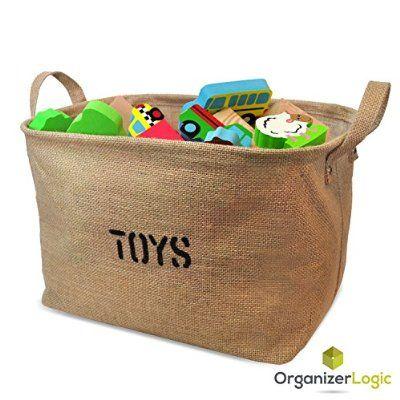 Jute Storage Bin, Eco-Friendly for Toy Storage - Medium Size Storage Basket for organizing Baby Toys, Kids Toys, Baby Clothing, Children Books, Gift Baskets.