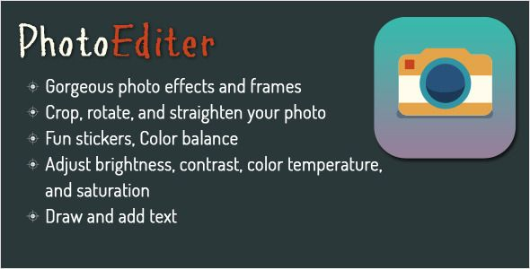 Photo Editor for Android - Using Aviary . Photo Editor is a powerful photo editor with many amazing effects!A very comprehensive photo editor and pretty much everything you could ever want to do on your phone!There are so many effects, stickers and features to apply to your photos!Photo Editor will give you the look you want in