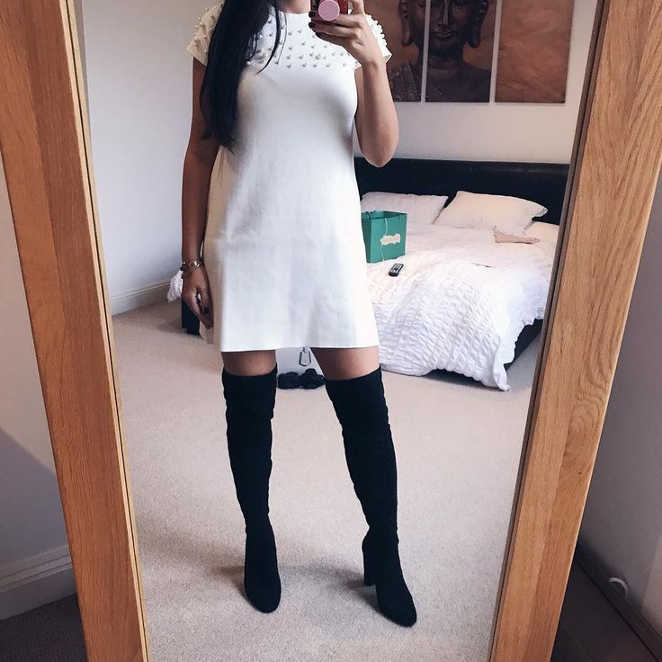 Youve probably seen it all over Instagram but everybody loves a bit of fall/ autumn fashion! Jumper dresses and OTK boots - yes please!!! Found this cream dress at @zara which has pearls on it  HAD to buy it