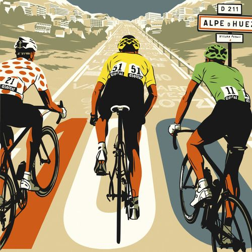 21-thechronicle: velovoyeur: The grand tour by BILLBUTCHER Illustrations haha the green jersey riding beside yellow and polka dot up alpe dhuez