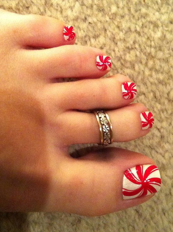 Cute Toe Nail Design in Red Wind Style
