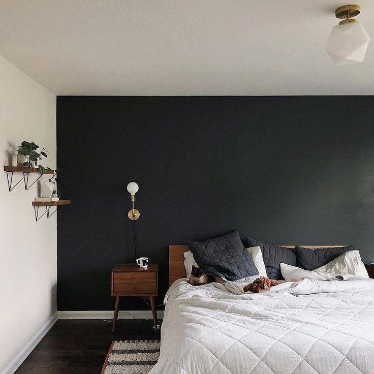Astrid Plug In Sconce Black Walls Bedroom Accent Wall Bedroom Bedroom Interior