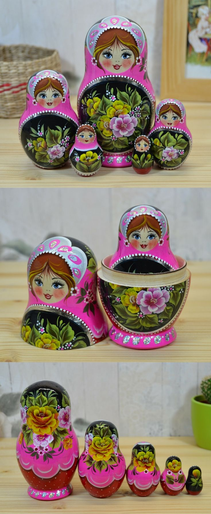 russian babushka doll in pink and black design