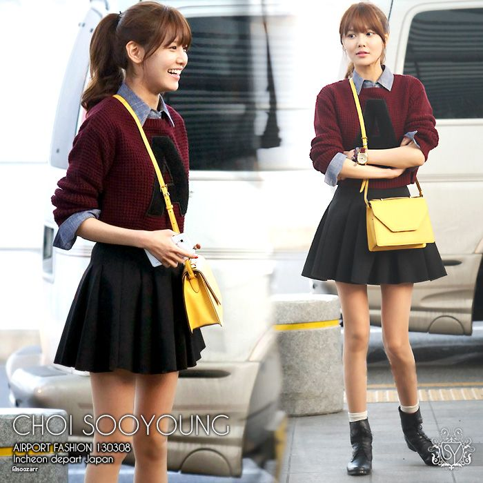 Snsd Sooyoung Preppy Style Outfit Korean Fashion