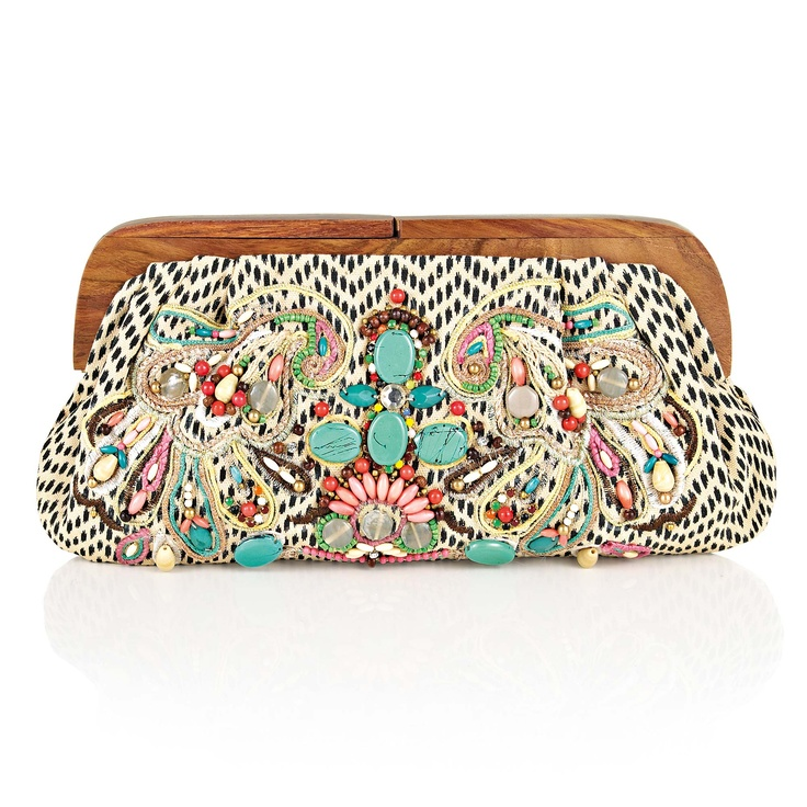 clutch with colorful stones and beads