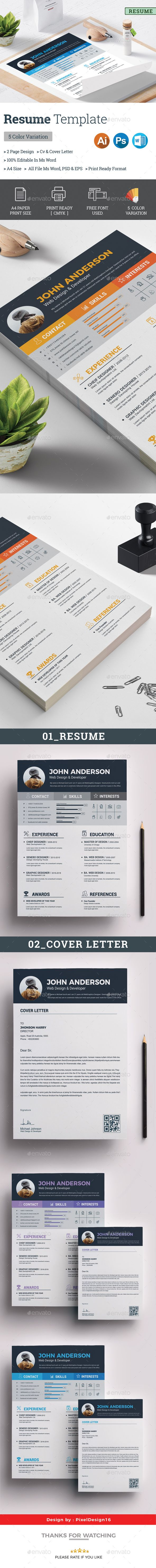 Resume #cv template #cv design  • Download here → https://graphicriver.net/item/resume/21285979?ref=pxcr