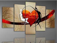 5 paneli modern soyut tuval yağlıboya seti el boyalı romantik aşıklar kalp tuval resimleri odası duvar dekor 5p12(China (Mainland))