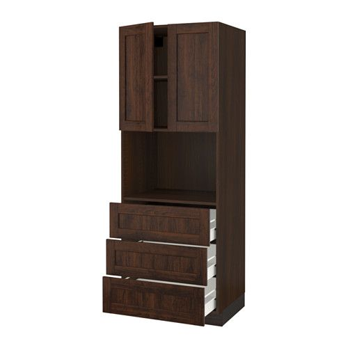 """IKEA - SEKTION, Hi cab f/microwave,3 drawers/2 door, wood effect brown, Fö, Edserum wood effect brown, 30x24x80 """", , FÖRVARA drawer can be pulled out to ¾ of its total depth and has plenty of storage space.Sturdy frame construction, ¾"""" thick.You can customize spacing as needed, because the shelves are adjustable.Snap-on hinges can be mounted onto the door without screws, and you can easily remove the door for cleaning."""