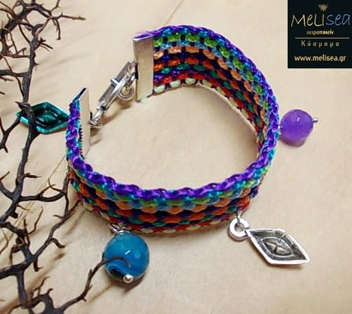 Summer bracelet with multicoloured cords, metal elements & agate beads...<3