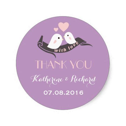 Purple Lavender Love Birds Wedding Favor Sticker