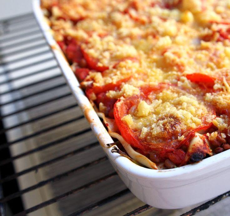 Lasagne med spinat, linser og gulrot