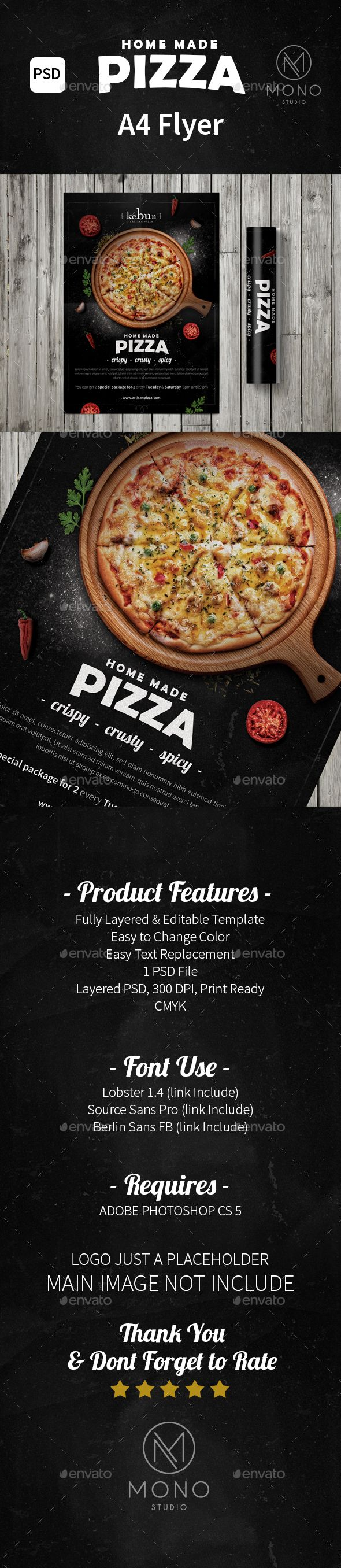 #Pizza Flyer - Restaurant #Flyers Download here: https://graphicriver.net/item/pizza-flyer/15786727?ref=alena994