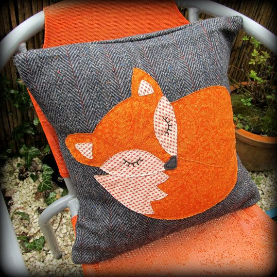 Snoozy fox cushion, snoozy fox pillow