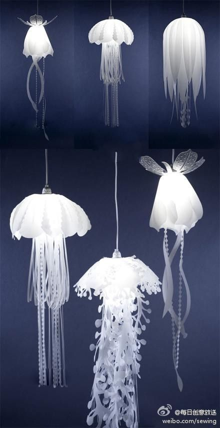 16 best jellyfish lamp images on pinterest jelly fish for Jellyfish light fixture