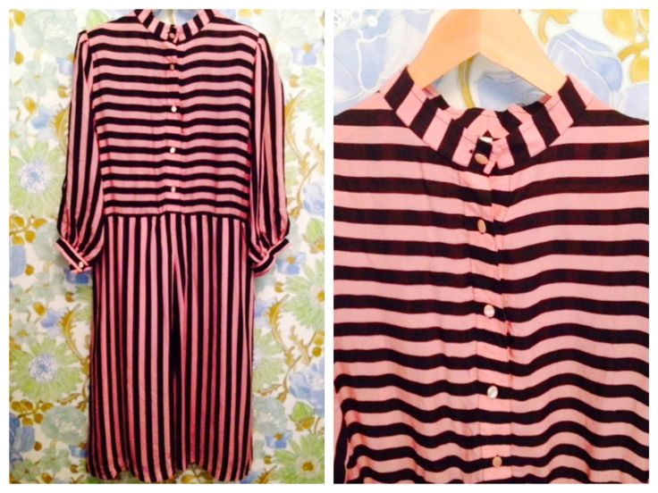 Vintage black & pink striped dress with small pads and puff shoulders  Length: 1.10, Waist: 40 cm.