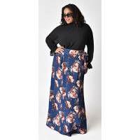 Plus Size Blue Twilight Rose Print Chiffon Celine Maxi Skirt - Plus  | Unique Vintage