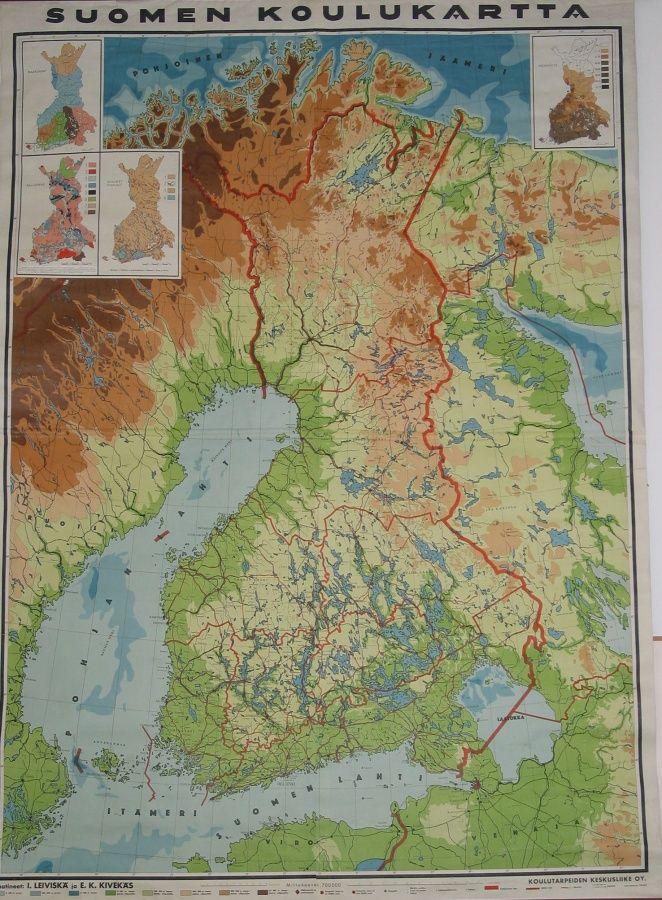 Koulukartta 1921 Itsenaisen Suomineidon Oikeat Alkuperaiset Rajat