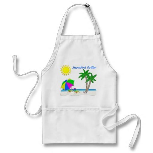 Tropical Aprons, Gifts for Snowbirds. Cheerful Beach scene is an Original by Little Linda Pinda Designs.  Gifts for Snowbirds are so much fun to give and receive.  Many of the TEXT can be Changed by Typing in YOUR TEXT or NAME in the Template TEXT BOX(es).  Tropical Gifts too.  ALL Snowbird Gifts CLICK HERE: http://www.zazzle.com/littlelindapinda/gifts?cg=196055889821225425&rf=238147997806552929*/  ALL of Little Linda Pinda Designs CLICK HERE: http://www.Zazzle.com/LittleLindaPinda*/
