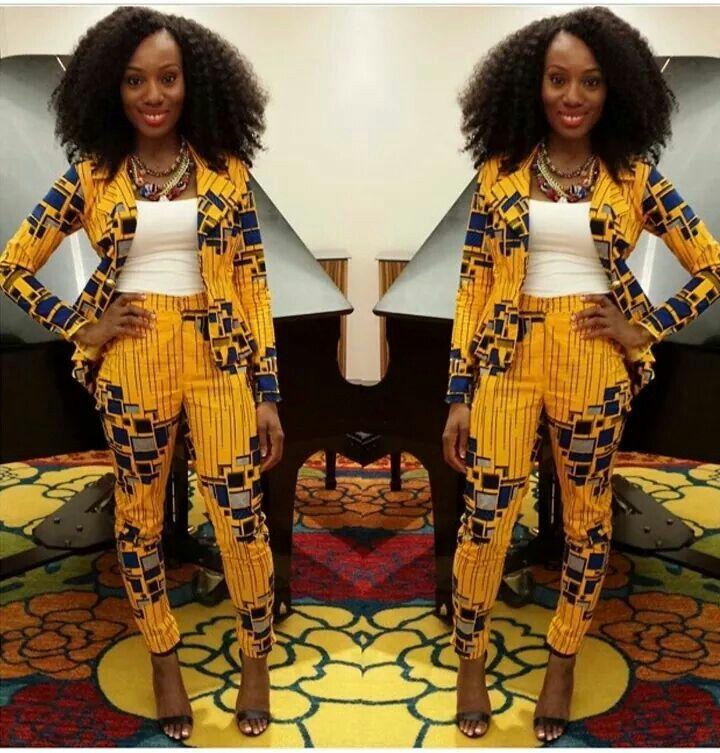 Yellow Print Blazer and High Waist Trouser// Yellow Blazer, High Waist Trouser…