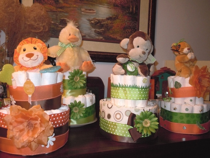 Baby Shower Decorations Animal Theme ~ Diaper cakes for my sis s baby animals theme shower