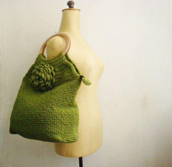 Hey, I found this really awesome Etsy listing at https://www.etsy.com/listing/84577111/green-tote-crochet-bag-with-natural